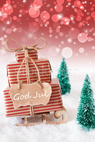 Vertical Sleigh, Red Background, God Jul Means Merry Christmas Stock photo © Nelosa