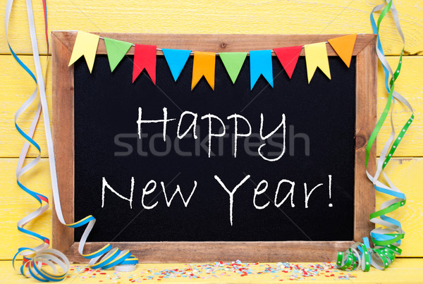Chalkboard With Party Decoration, Text Happy New Year Stock photo © Nelosa