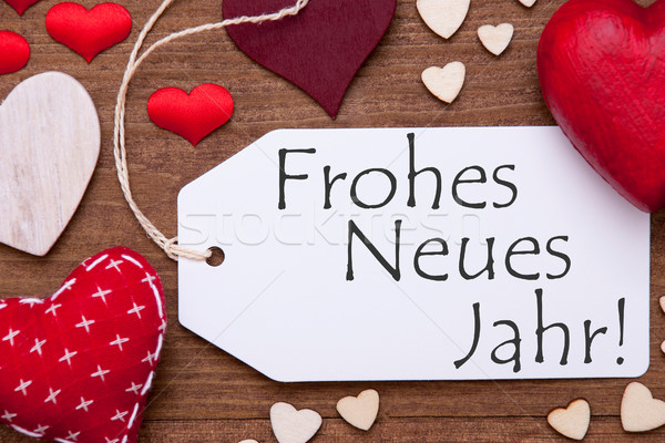 Label, Red Hearts, Flat Lay, Frohes Neues Means New Year Stock photo © Nelosa