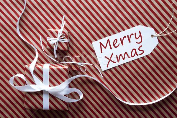 Сток-фото: два · подарки · Label · текста · веселый · рождество