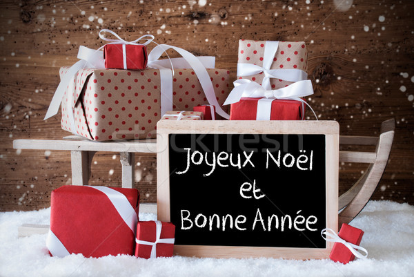 Sleigh With Gifts, Snow, Snowflakes, Bonne Annee Means New Year Stock photo © Nelosa
