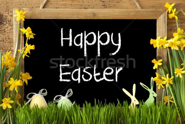 Tojás nyuszi szöveg kellemes húsvétot iskolatábla angol Stock fotó © Nelosa