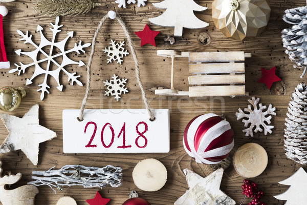 Rustik Noel metin happy new year dekorasyon Stok fotoğraf © Nelosa