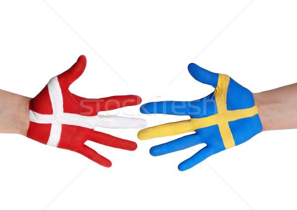 Dinamarca Suecia dos manos pintado colores Foto stock © Nelosa