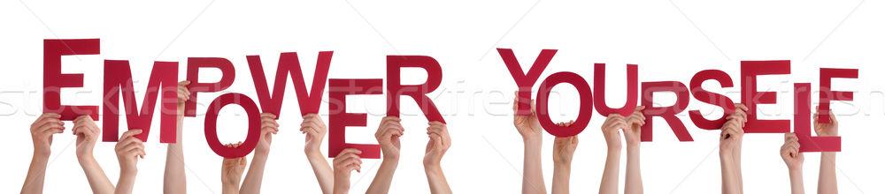 Emberek kezek tart piros szó magad Stock fotó © Nelosa