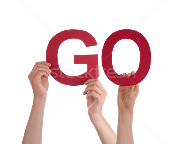 Many People Hands Holding Red Straight Word Go Stock photo © Nelosa