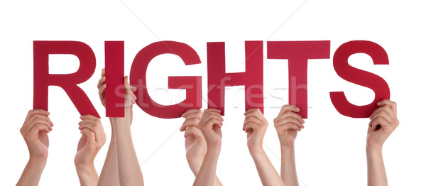 Many People Hands Holding Red Straight Word Rights Stock photo © Nelosa