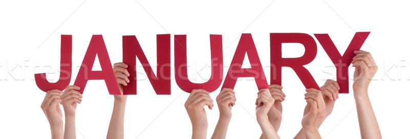 Many People Hands Hold Red Straight Word January Stock photo © Nelosa