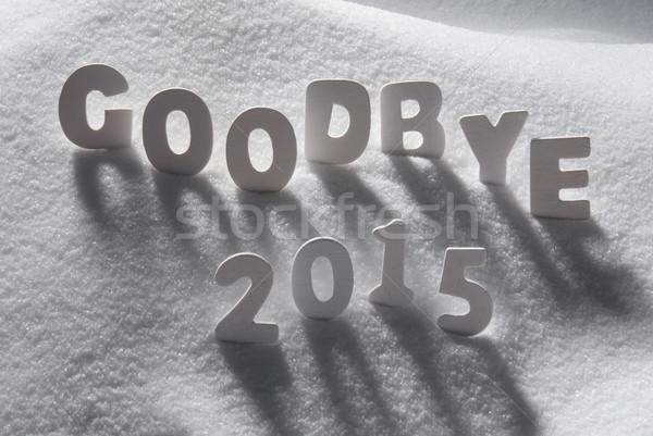 Branco natal palavra adeus 2015 neve Foto stock © Nelosa