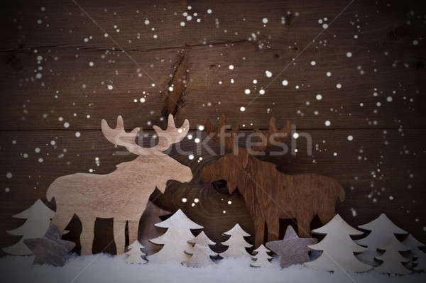 Christmas Decoration, Moose Couple In Love, Trees And Snowflakes Stock photo © Nelosa