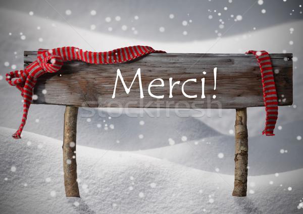 Christmas Sign Merci Means Thank You, Snowflake, Ribbon, Snow Stock photo © Nelosa