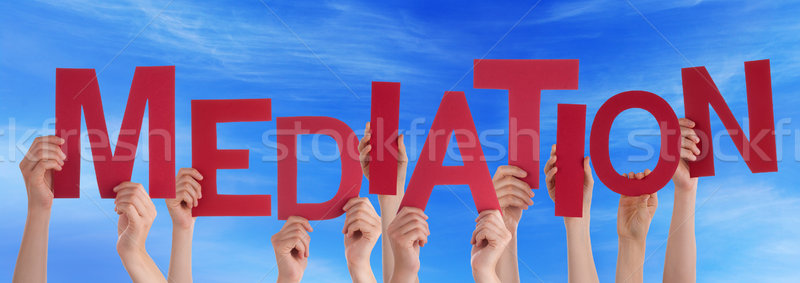 Many People Hands Holding Red Word Mediation Blue Sky Stock photo © Nelosa