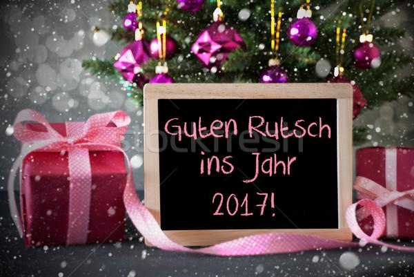 Tree, Gifts, Snowflakes, Bokeh, Guten Rutsch 2017 Means New Year Stock photo © Nelosa