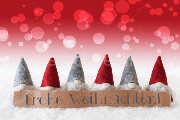 Gnomes, Red Background, Bokeh, Frohe Weihnachten Means Merry Christmas Stock photo © Nelosa