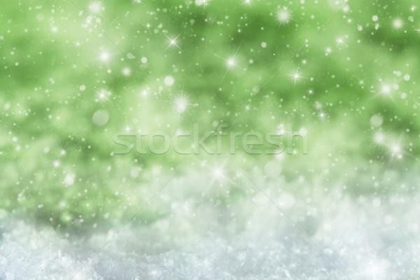 Zöld karácsony hó csillagok textúra pezsgő Stock fotó © Nelosa