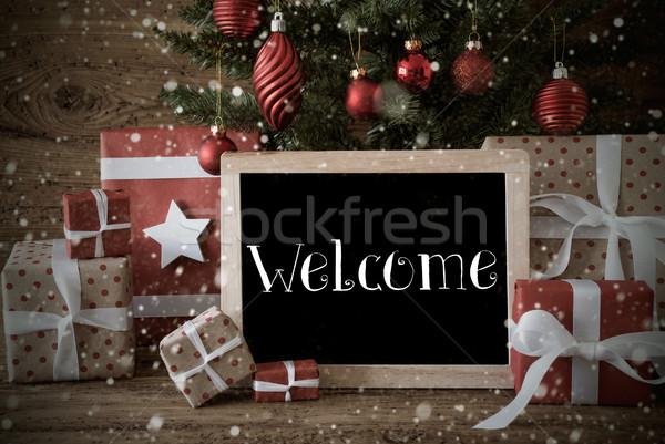 Foto stock: Nostálgico · árvore · de · natal · bem-vindo · flocos · de · neve · temporadas