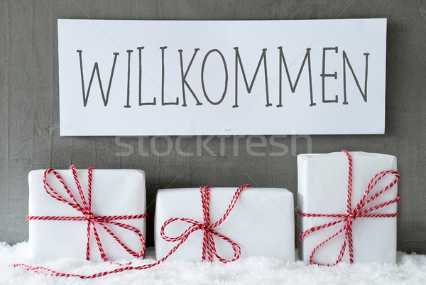 White Gift On Snow, Willkommen Means Welcome Stock photo © Nelosa