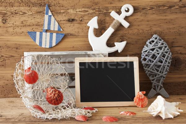 Tableau été décoration espace de copie tableau noir nautique Photo stock © Nelosa