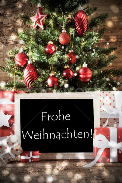 Tree With Bokeh Effect, Frohe Weihnachten Means Merry Christmas Stock photo © Nelosa
