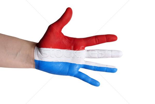 Hollandia kéz festett színek zászló üdvözlet Stock fotó © Nelosa
