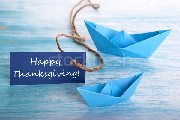 Blue Banner with Happy Thanksgiving Stock photo © Nelosa