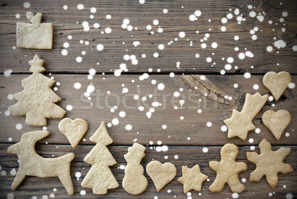 Snowy Ginger Bread Background with Copy Space Stock photo © Nelosa