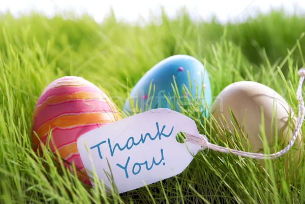 Happy Easter Background With Colorful Eggs And Label With Text Thank You Stock photo © Nelosa