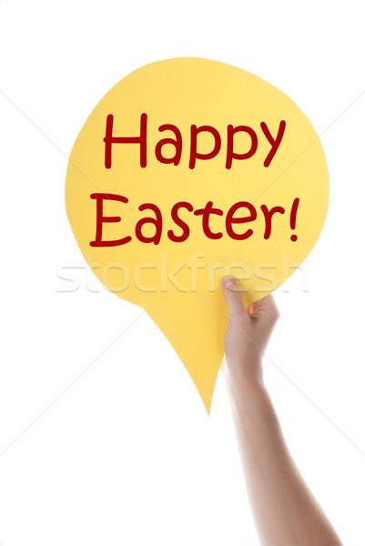 Citromsárga szöveglufi kellemes húsvétot egy kéz tart Stock fotó © Nelosa