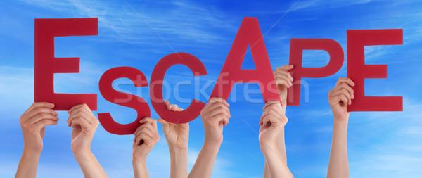 Viele Menschen Hände halten rot Wort Stock foto © Nelosa