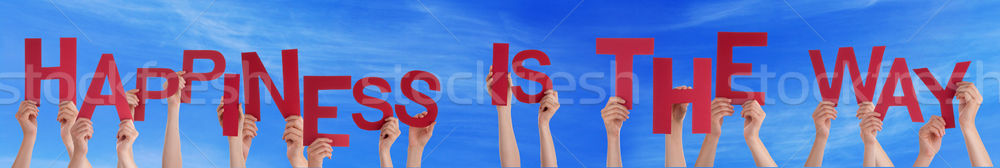 People Holding Word Happiness Is The Way Blue Sky Stock photo © Nelosa