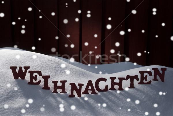 Weihnachten Mean Christmas On Snow With Snowflakes Stock photo © Nelosa