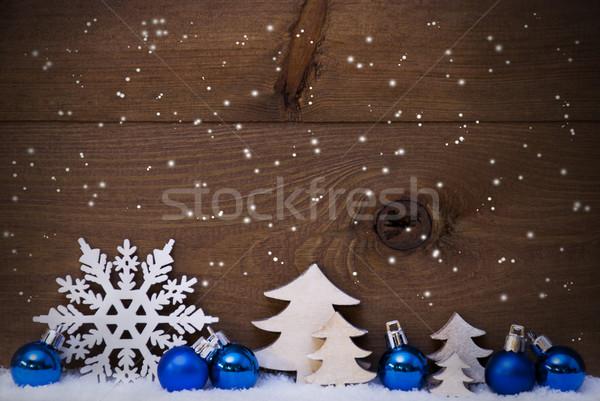 Stok fotoğraf: Mavi · dekorasyon · kar · bo · kar · tanesi