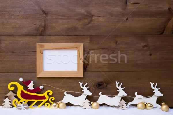 Santa Claus Sled, Reindeer, Snow, Copy Space, Golden Ball, Frame Stock photo © Nelosa