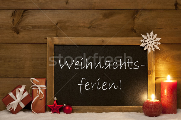 Card, Blackboard, Snow, Weihnachtsferien Mean Christmas Holiday Stock photo © Nelosa