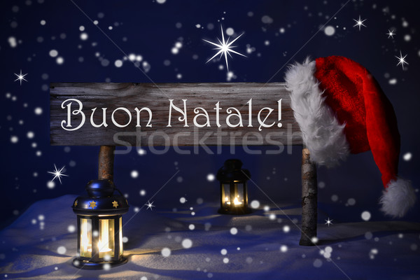 Sign Candlelight Santa Hat Buon Natale Means Merry Christmas Stock photo © Nelosa