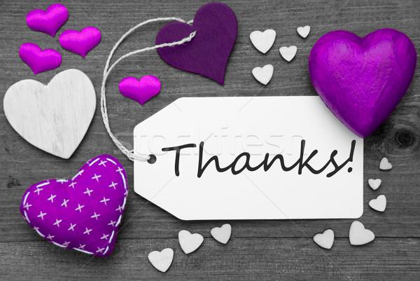 Blanc noir étiquette pourpre coeurs texte remerciements Photo stock © Nelosa
