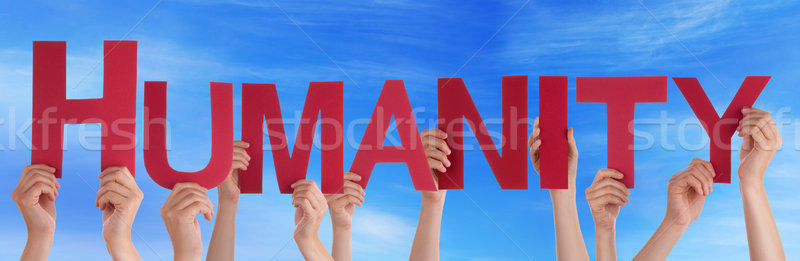 Many People Hands Holding Red Straight Word Humanity Blue Sky Stock photo © Nelosa