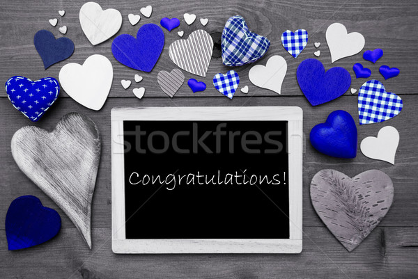 Chalkbord With Many Blue Hearts, Congratulations Stock photo © Nelosa