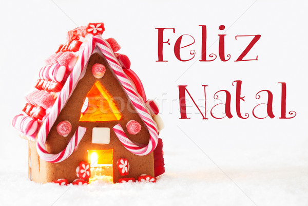 Gingerbread House, White Background, Feliz Natal Means Merry Christmas Stock photo © Nelosa