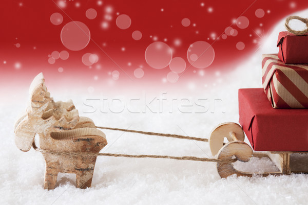 Reindeer With Sled, Red Background, Copy Space Stock photo © Nelosa