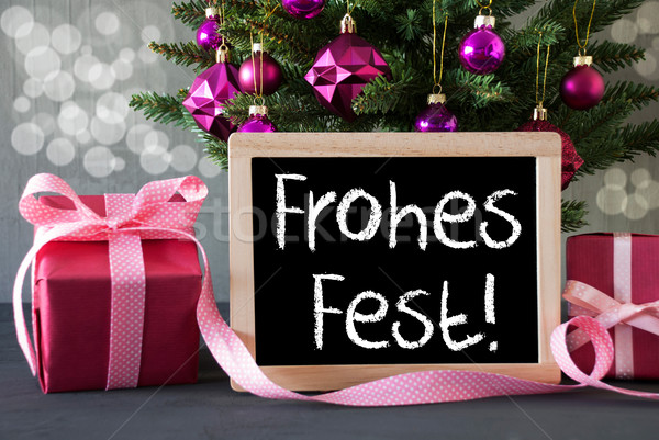 Tree With Gifts, Bokeh, Text Frohes Fest Means Merry Christmas Stock photo © Nelosa