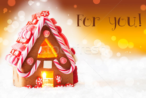 Gingerbread House, Golden Background, Text For You Stock photo © Nelosa