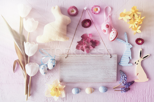 Sunny Retro Easter Flat Lay With Flowers, Copy Space Stock photo © Nelosa