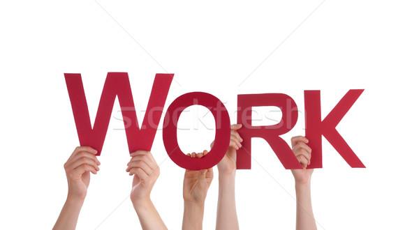 Stockfoto: Handen · werk · veel · Rood · woord