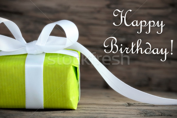 Green Gift with Happy Birthday Stock photo © Nelosa