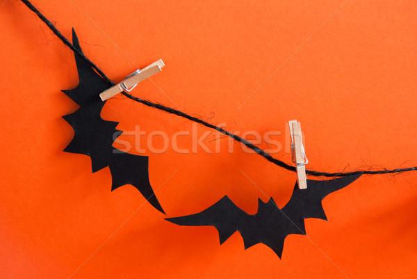 Stockfoto: Twee · zwarte · lijn · oranje · partij · najaar