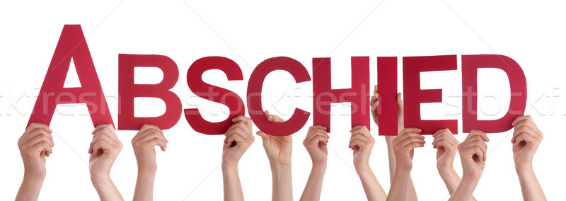 People Holding Straight German Word Abschied Means Goodbye Stock photo © Nelosa