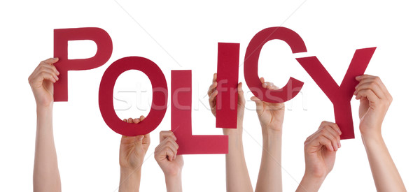 Many People Hands Holding Red Word Policy Stock photo © Nelosa