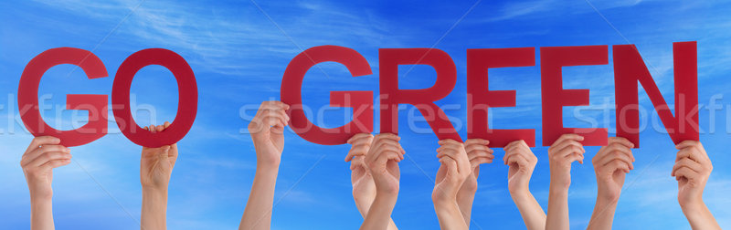 Hands Holding Red Straight Word Go Green Blue Sky Stock photo © Nelosa