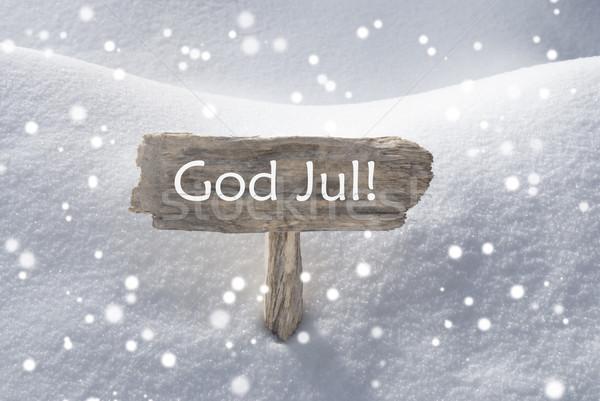 Sign Snowflakes God Jul Mean Merry Christmas Stock photo © Nelosa